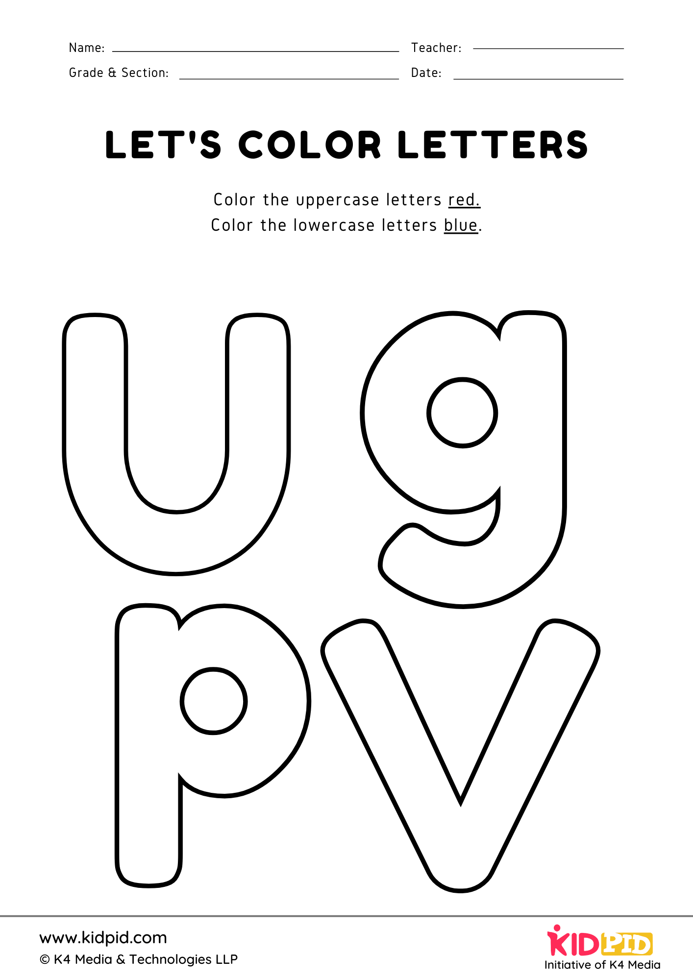 Uppercase And Lowercase Letters Coloring Printable