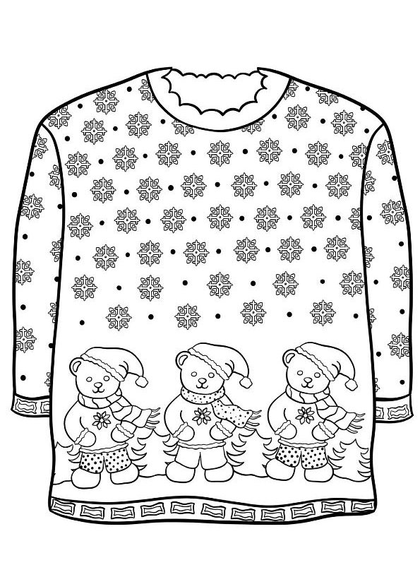 kidsnfun  14 coloring pages of christmas ugly sweaters
