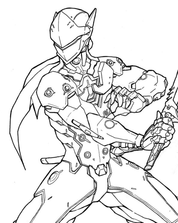 Overwatch Genji Coloring Coloring Pages