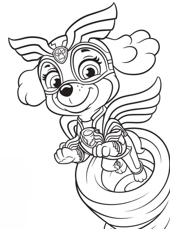 kidsnfun  coloring page paw patrol mighty pups skye
