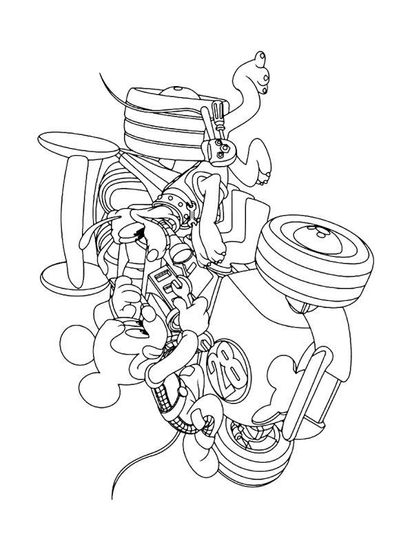 Kids-n-fun Malvorlage Mickey Mouse und Roadster