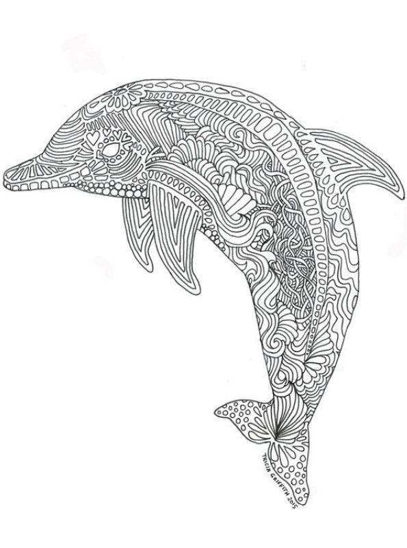 Kids-n-fun Malvorlage Delfine schwer Delphin schwer 01