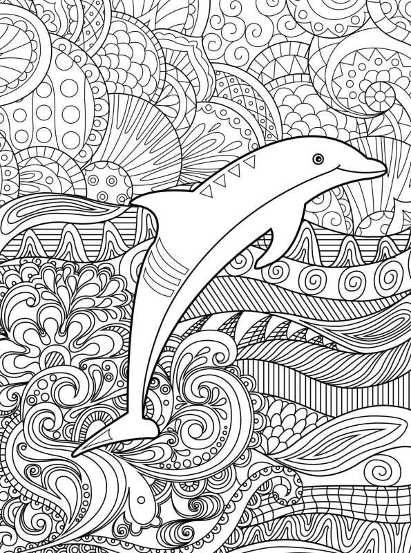 Kids-n-fun Malvorlage Delfine schwer Delphin schwer 02