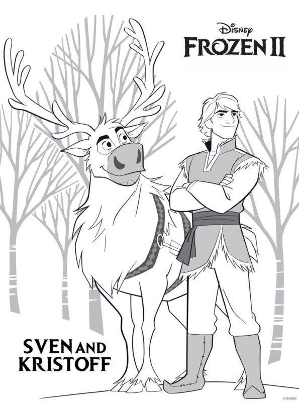 Kids-n-fun Malvorlage Frozen 2 Sven Kristoff