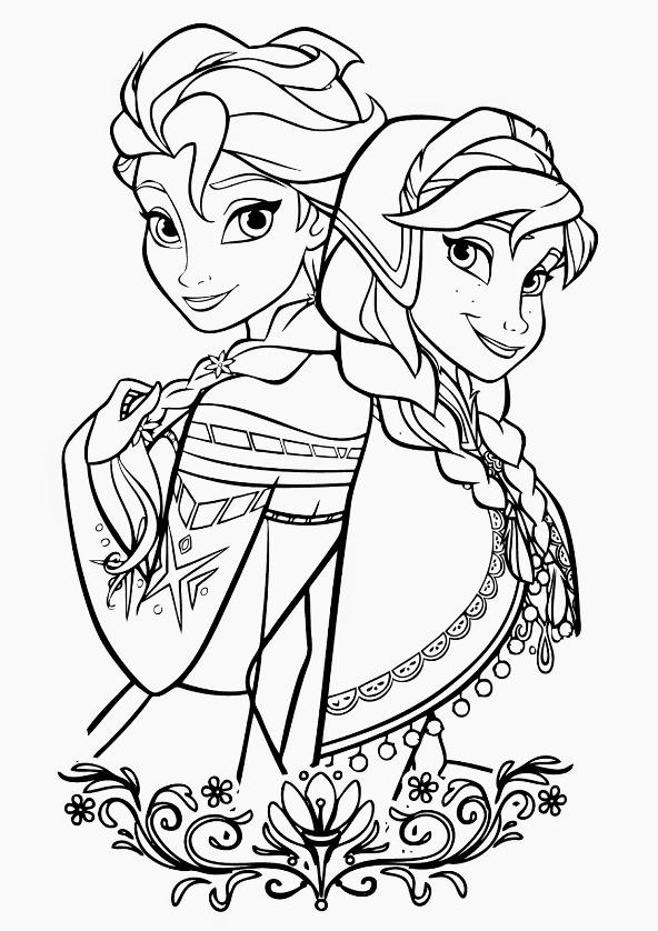 Kids-n-fun Malvorlage Die Eiskönigin Anna und Elsa frozen