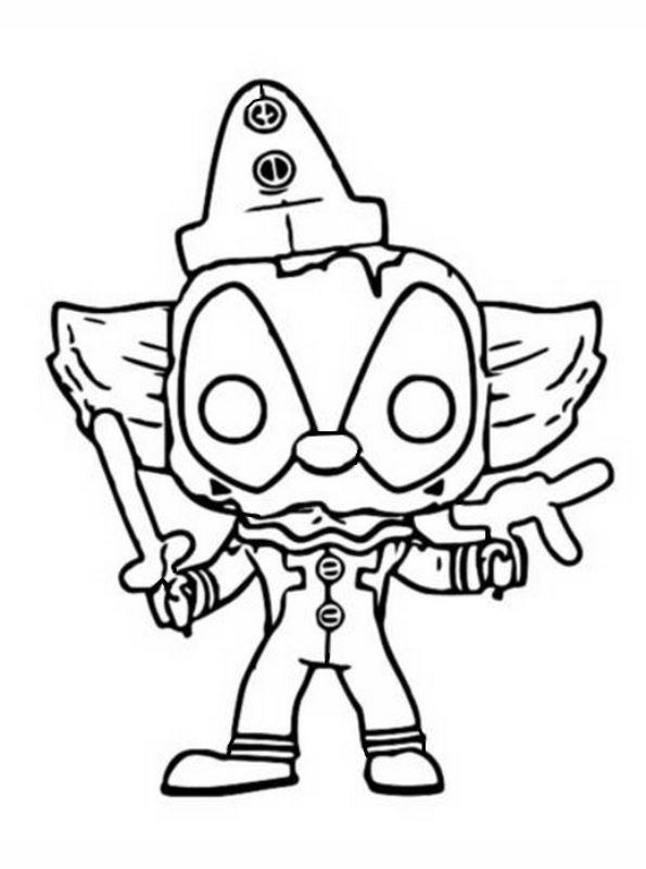 Kids-n-fun Malvorlage Funko Pops Marvel Deadpool clown