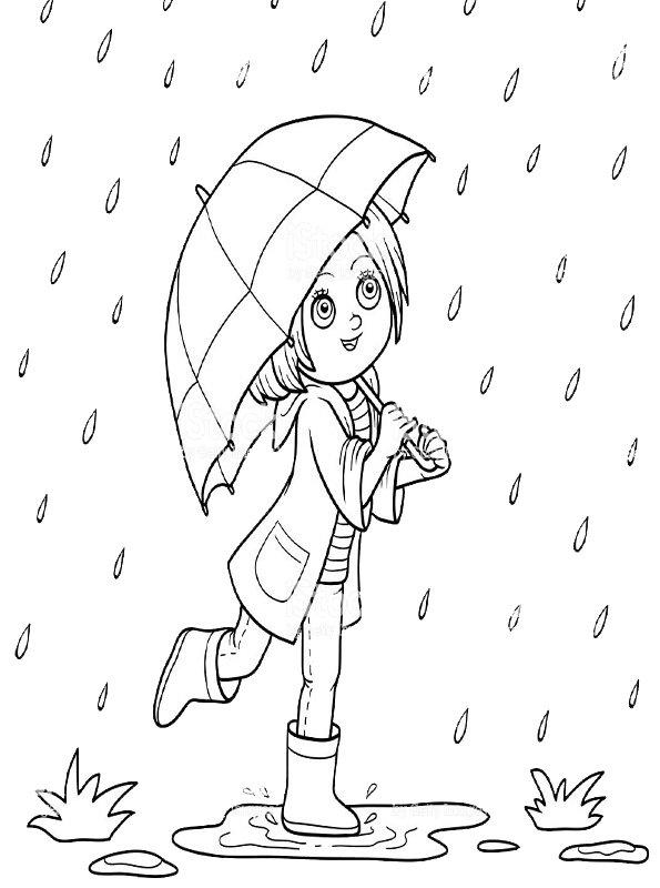 Kids-n-fun Malvorlage Regenschirm Kinder mit Regenschirm