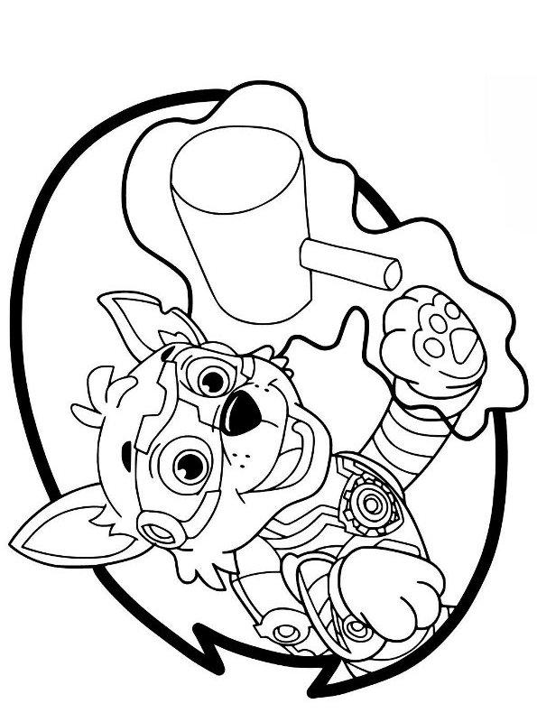 Kids-n-fun Malvorlage Paw Patrol Mighty Pups Rocky