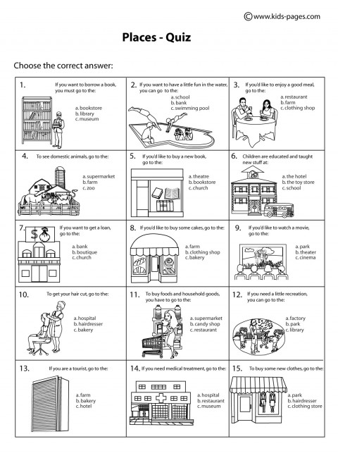 Places  Quiz BW worksheet