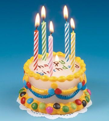Geburtstagskerze in Form einer Torte