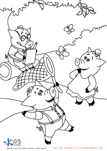 The Three Funny Little Pigs Coloring Page