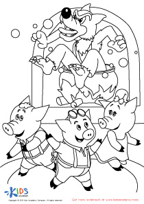 The Big Bad Wolf in the Fireplace Coloring Page