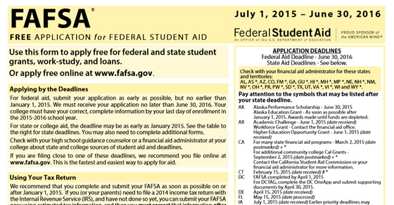 Fafsa Form Application Printable