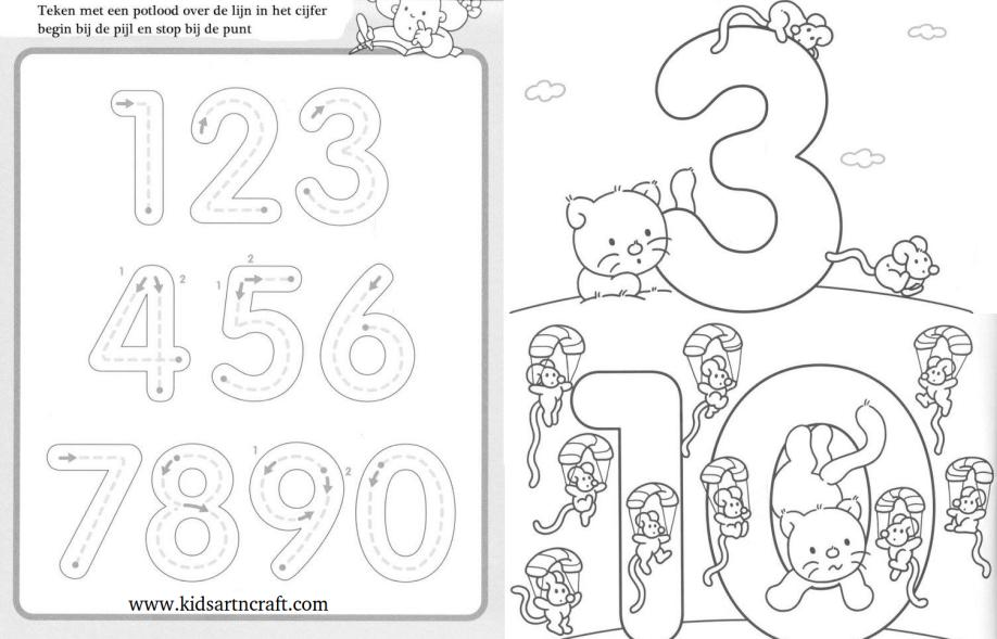 1-10 Writing numbers worksheets for preschool and