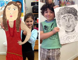 Kids creating self portraits at Kids at Art