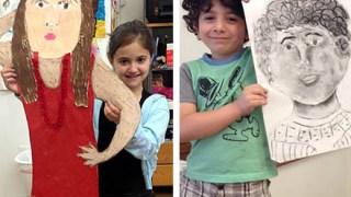 Kids creating self portraits at Kids at Art