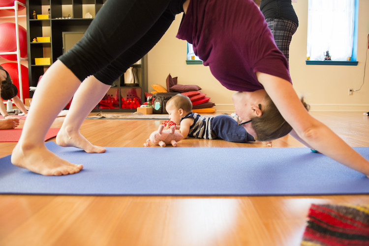 Mommy and Me Yoga at Shining Light Prenatal Education, Photo by Rob Larson