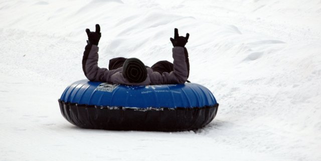 Snow tubing at Boyce Park.
