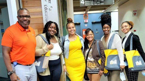 The inaugural OTIS cohort: Pictured from left: Dr. Chuck Herring, D'Naiscia Ennis, Jovanna Joseph, Dr. Katina January-Vance of Howard University, Daejah Parks and Jasmine Montgomery.