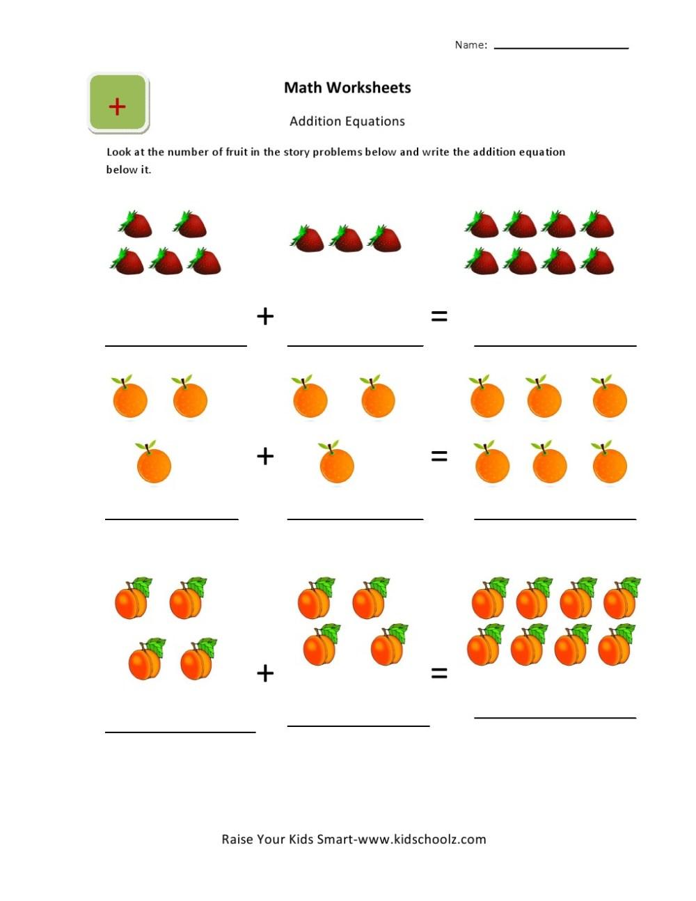 medium resolution of UKG-Basic Picture Addition Worksheets for Kids - Kidschoolz