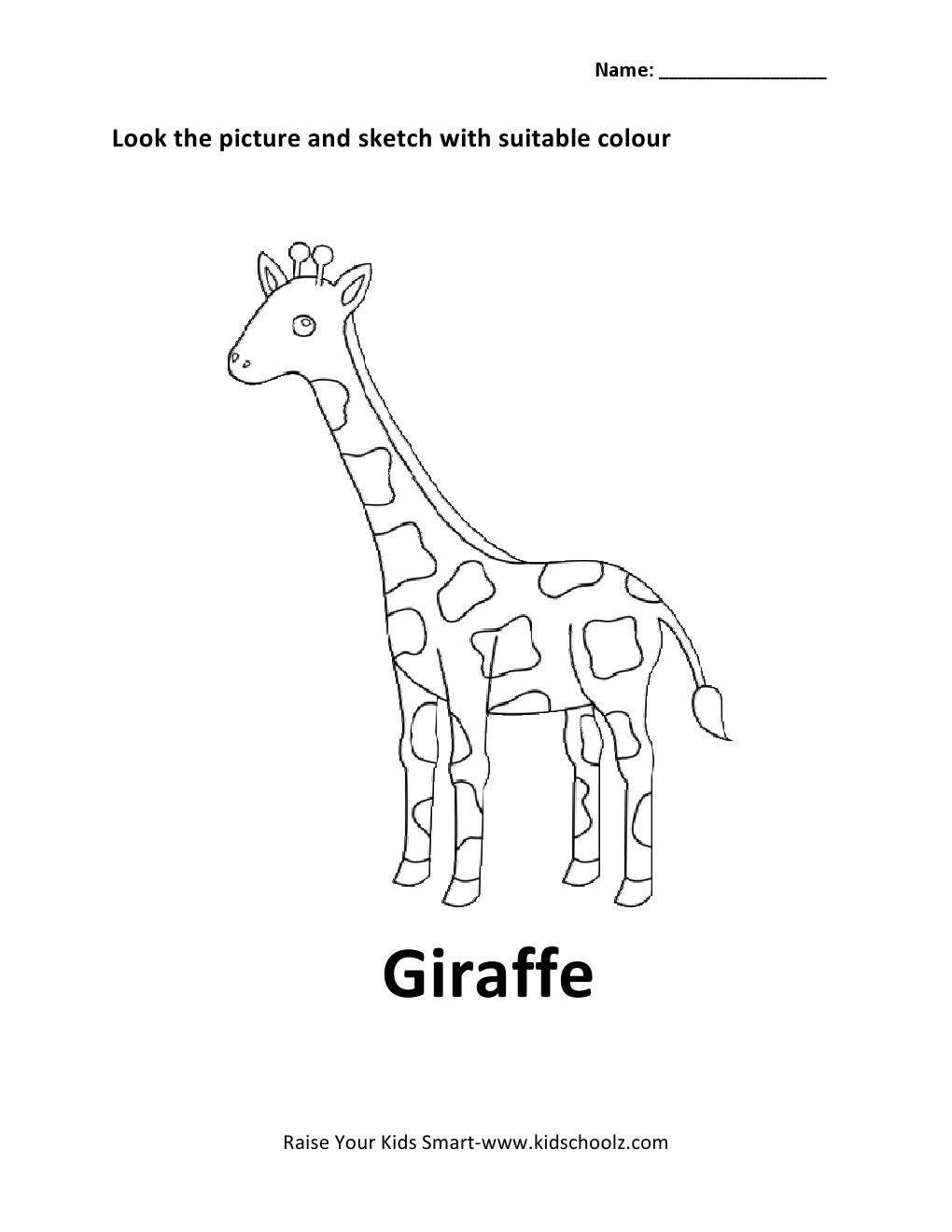 Giraffe Preschool Worksheet. Giraffe. Best Free Printable