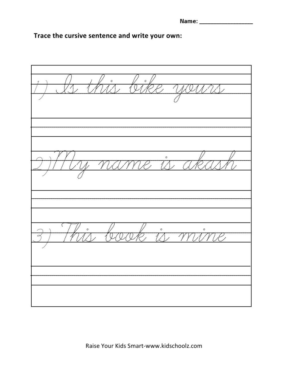 medium resolution of Grade 1 - Cursive Writing Sentences Worksheet 4 - Kidschoolz