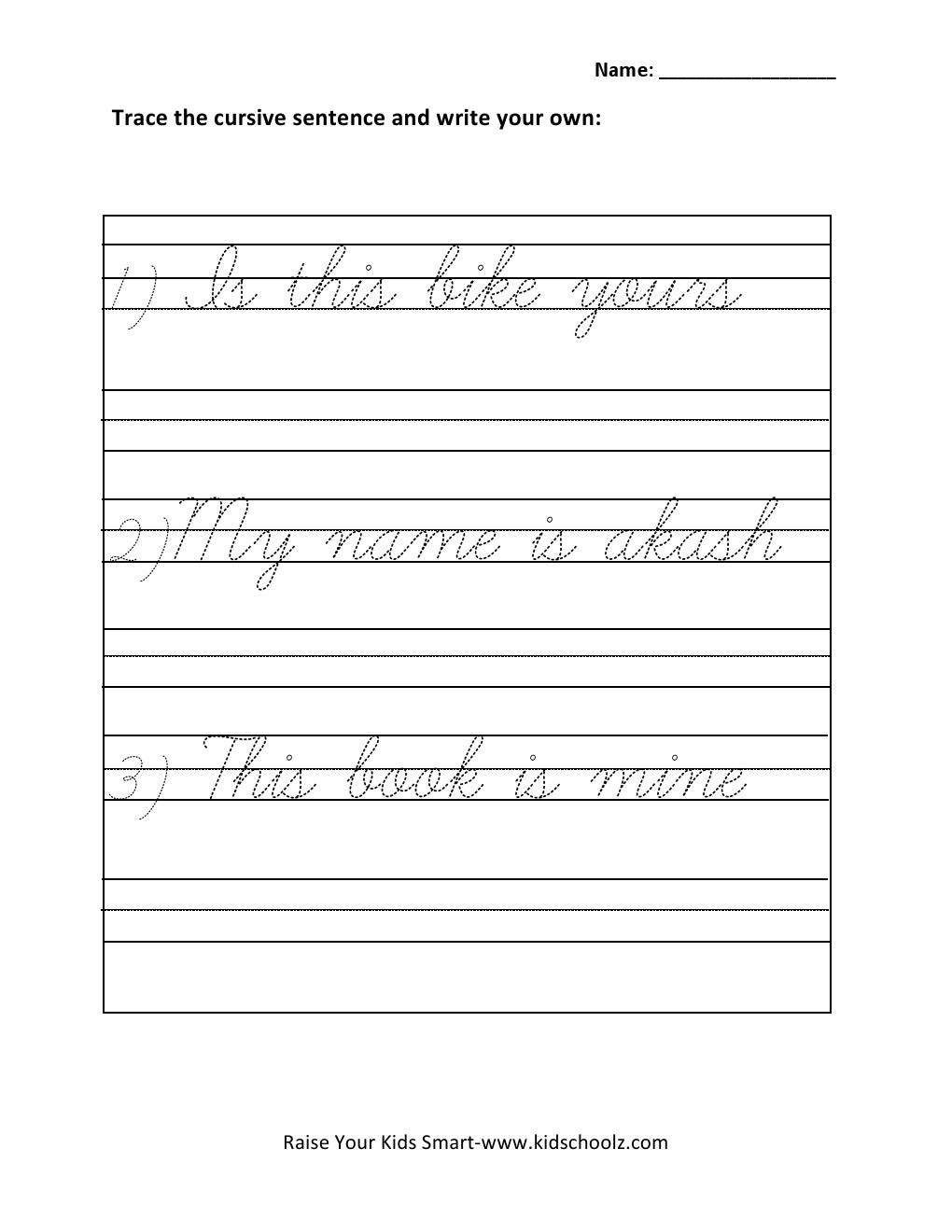 hight resolution of Grade 1 - Cursive Writing Sentences Worksheet 4 - Kidschoolz