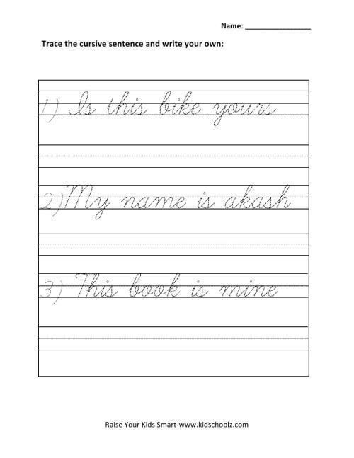 small resolution of Grade 1 - Cursive Writing Sentences Worksheet 4 - Kidschoolz