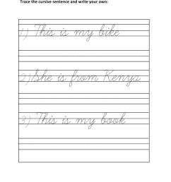 Grade 1 - Cursive Writing Sentences Worksheet 5 - Kidschoolz [ 1320 x 1020 Pixel ]