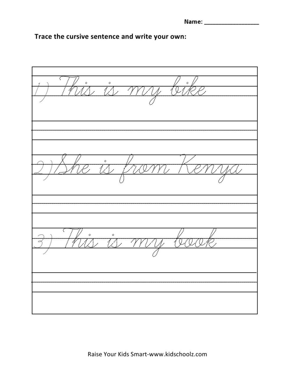 medium resolution of Grade 1 - Cursive Writing Sentences Worksheet 5 - Kidschoolz