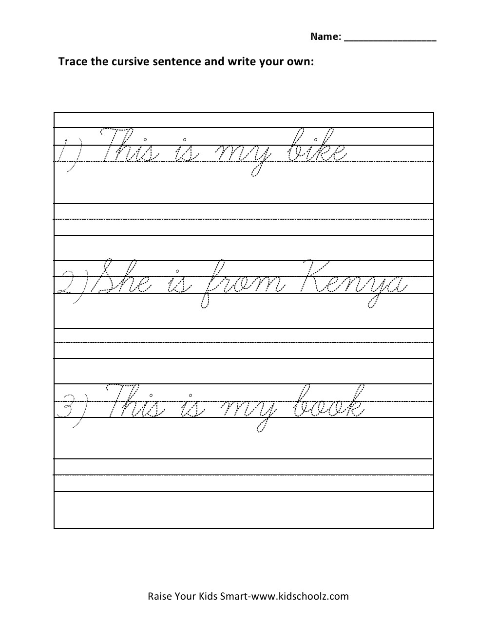 hight resolution of Grade 1 - Cursive Writing Sentences Worksheet 5 - Kidschoolz