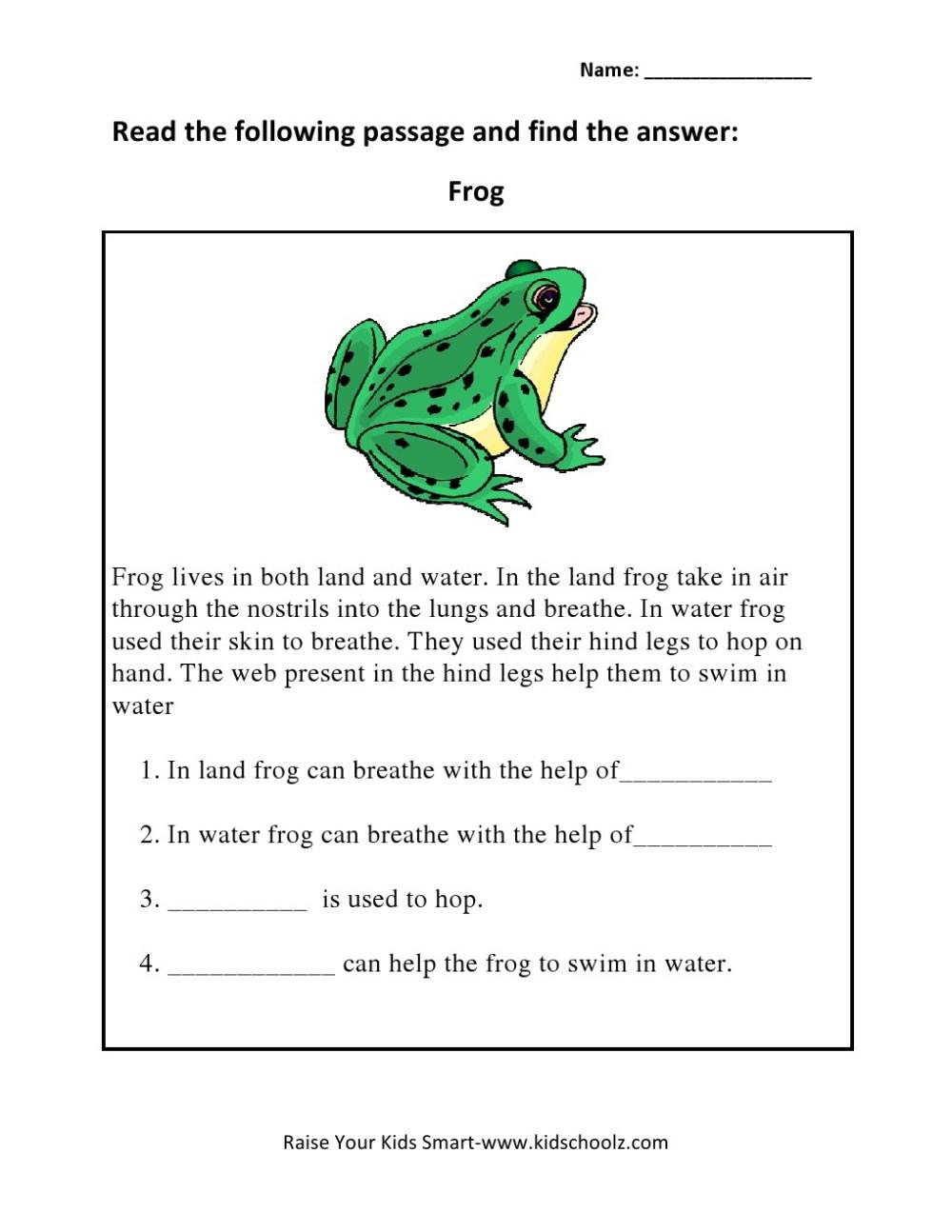 medium resolution of Grade 3 - Animals Read and Answers Worksheet 2 - Kidschoolz