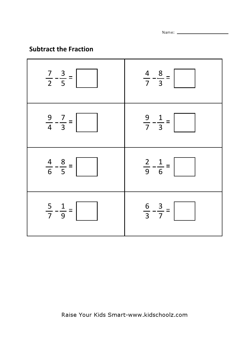 medium resolution of Grade 4 - Fraction Subtraction Worksheet 4 - Kidschoolz