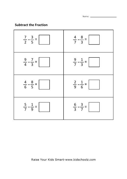 small resolution of Grade 4 - Fraction Subtraction Worksheet 4 - Kidschoolz