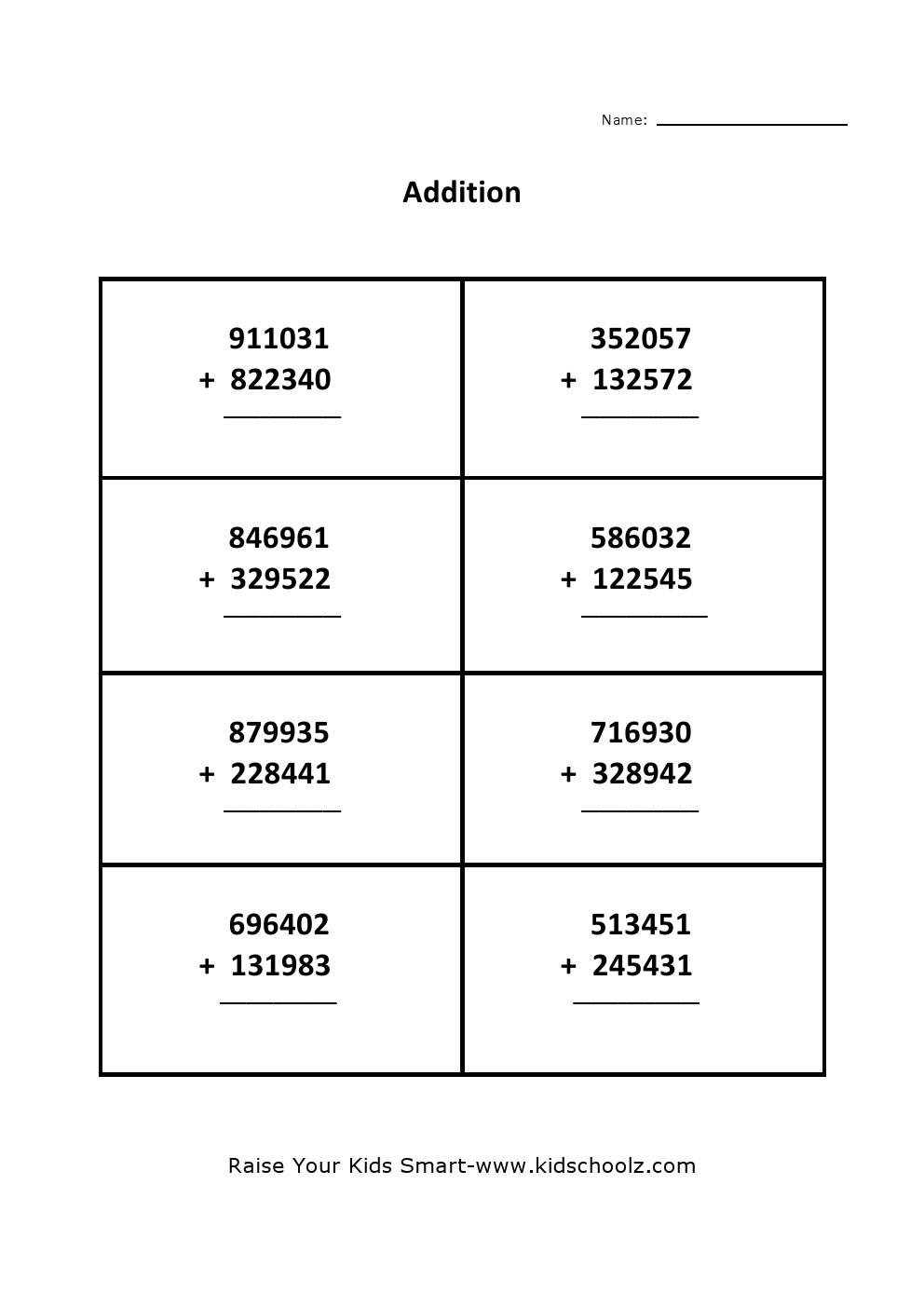 hight resolution of Grade 5 - Addition Worksheet 1 - Kidschoolz