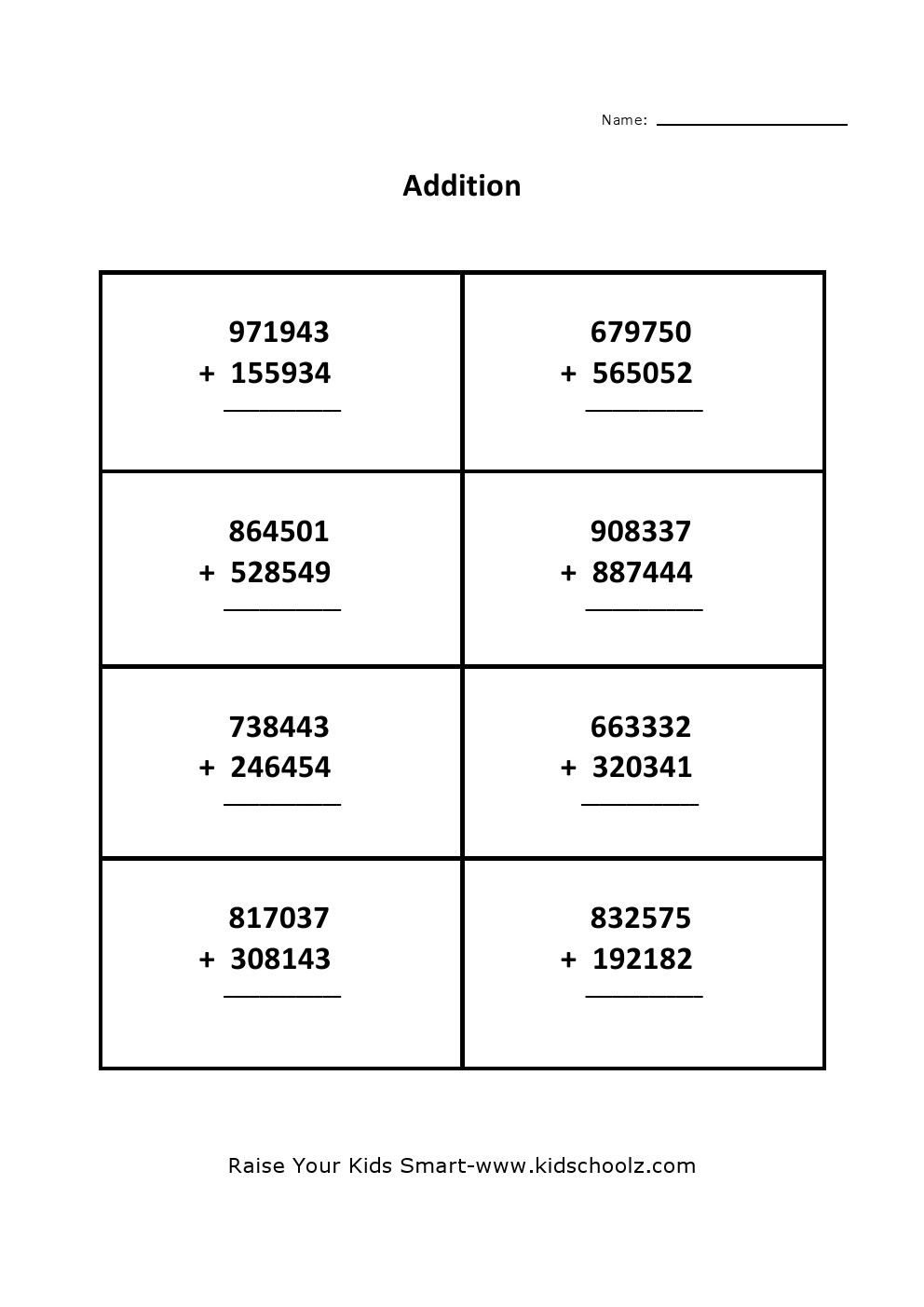 hight resolution of Grade 5 - Addition Worksheet 4 - Kidschoolz