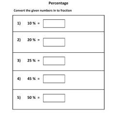 Grade 5 - Percentage To Fraction Worksheet 1 - Kidschoolz [ 1320 x 1020 Pixel ]