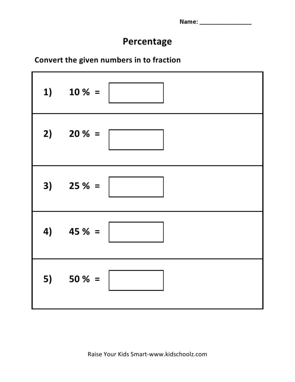 medium resolution of Grade 5 - Percentage To Fraction Worksheet 1 - Kidschoolz