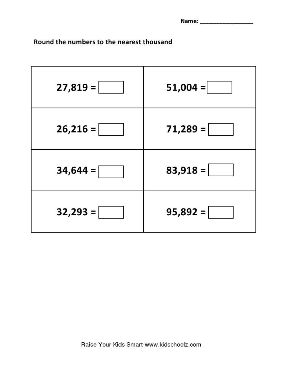 medium resolution of Grade 5 - Rounding Integer Number Worksheet 5 - Kidschoolz