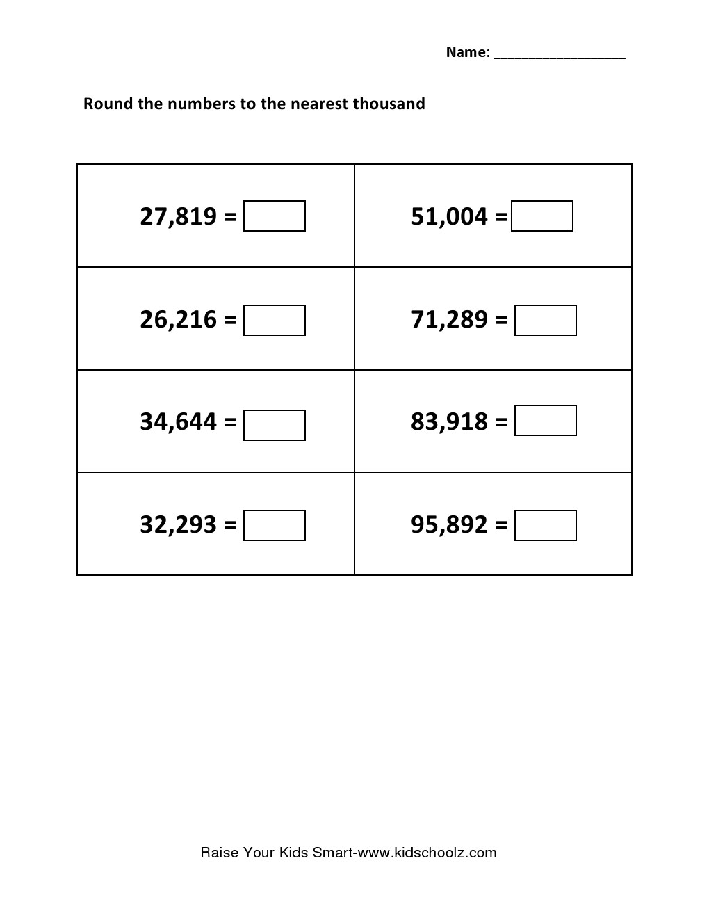 hight resolution of Grade 5 - Rounding Integer Number Worksheet 5 - Kidschoolz
