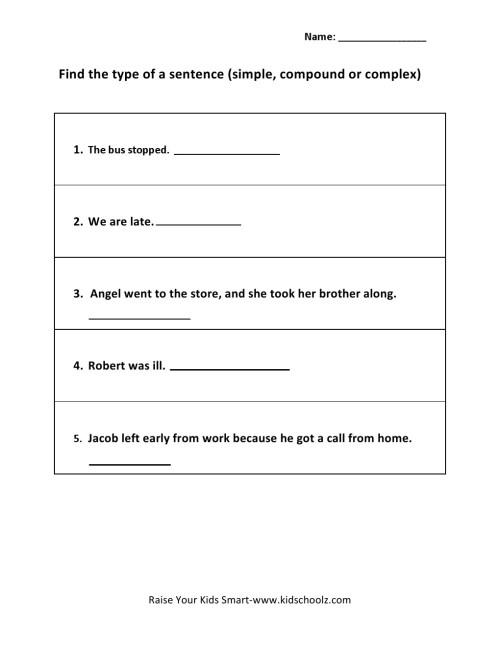 small resolution of Grade 5 - Types of sentence Worksheets 4 - Kidschoolz