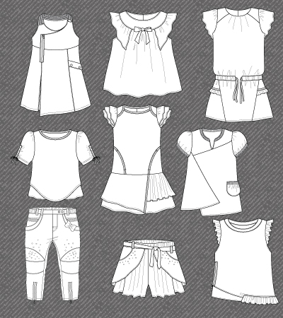 Set Of Isolated Flat Sketches For Girls Kidsfashionvector Cute Vector Art For Kids Clothes