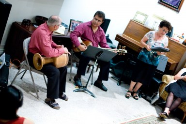 """SANTAR Persian Mytical ensemble performing at the Human Rights Concert on Sept, 9, 11 in support of """"Education Under Fire in Iran"""" Campaign."""