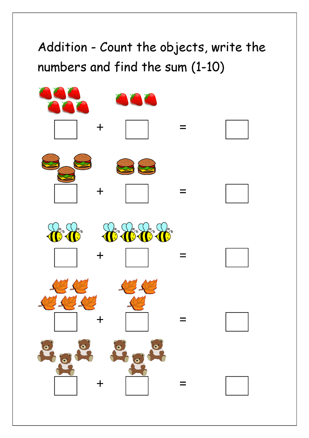 medium resolution of Addition Worksheets for Grade 1