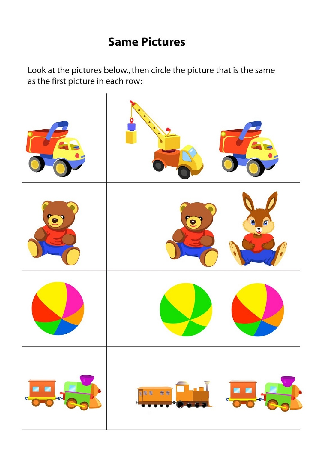 Same And Different For Kids Kids Learning Activity