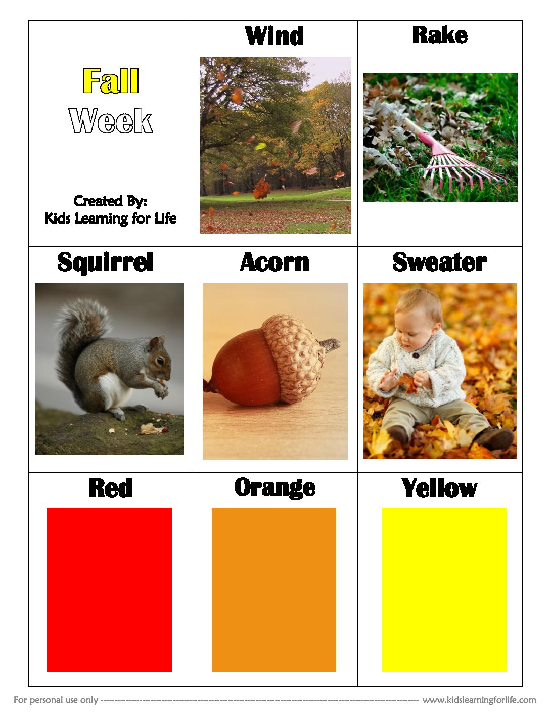 Fall Theme Vocabulary