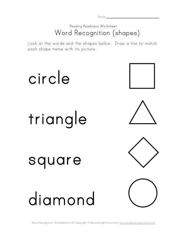 Shape Words Worksheets Kindergarten