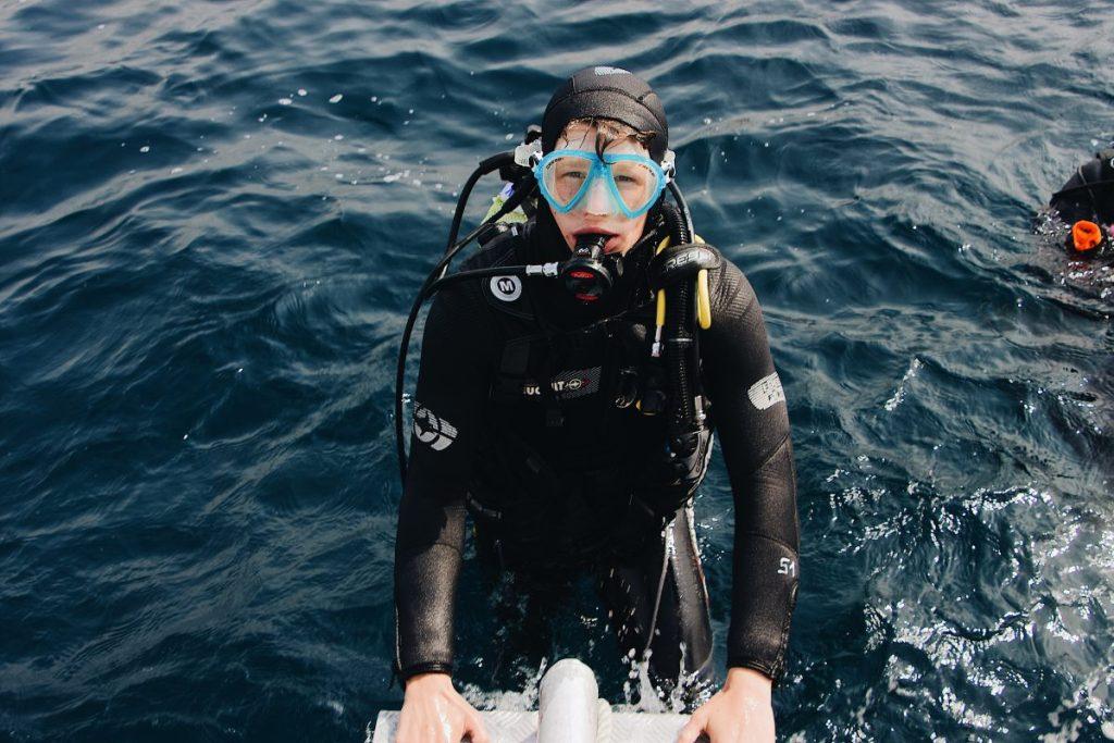 boy scuba diving Greece CV