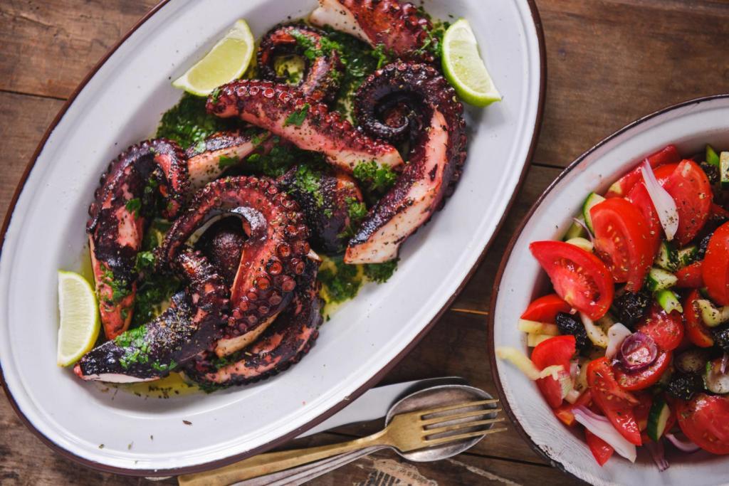 grilled octopus greek food