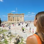 woman infront of Parthenon Athens